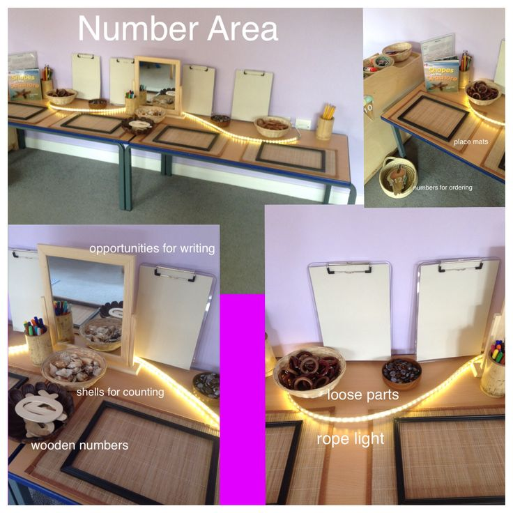 My number area. Lots of open ended natural resources to encourage explorative play.