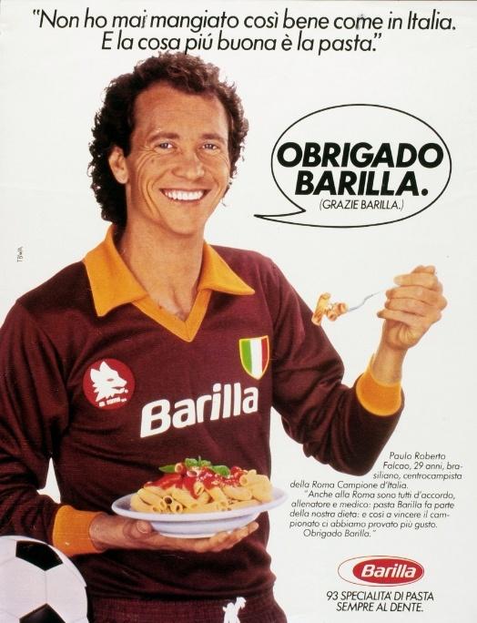 1983, Italy's Serie A football star Paulo Roberto Falcão poses with Barilla.