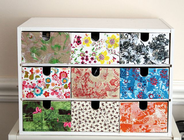 Decopatch/decopage storage unit multi-coloured DIY revamp.
