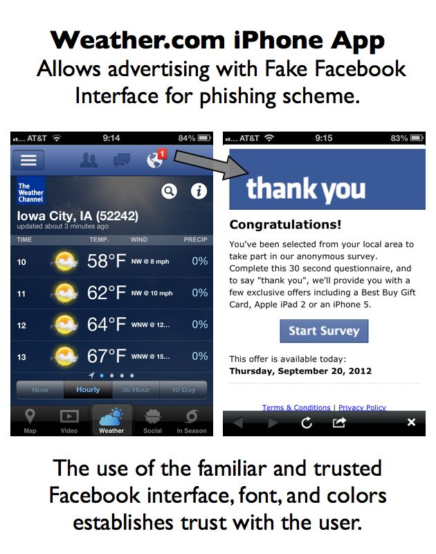 Weather.com iPhone App Allows Advertising with Fake Facebook Interface for Phishing Scheme http://www.resourcesforlife.com/docs/item6036