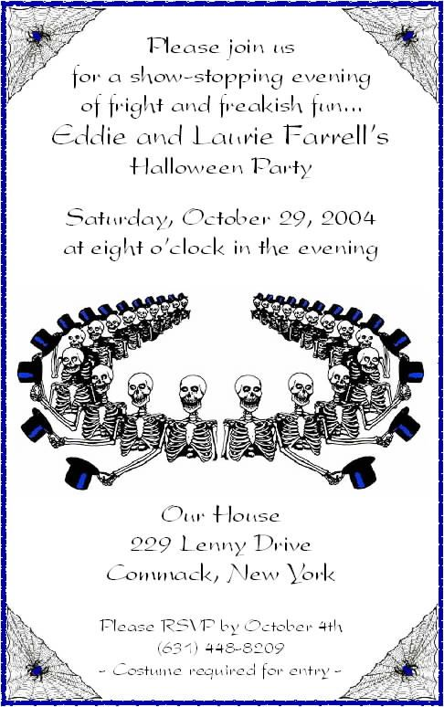 Halloween invitation wording for adults