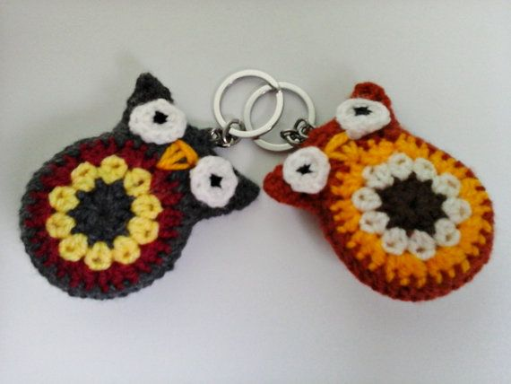Crochet Keychain Crochet Owl Keychain  Small by ZsuzsaBoutique