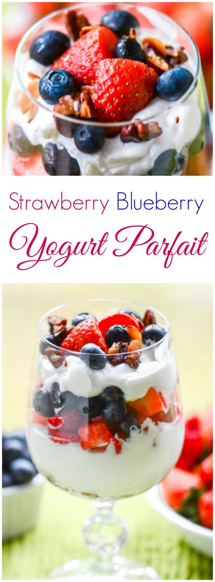 Strawberry Blueberry Yogurt Parfaits are sweet, creamy, crunchy healthy desserts made with fresh strawberries, blueberries, and organic greek yogurt.