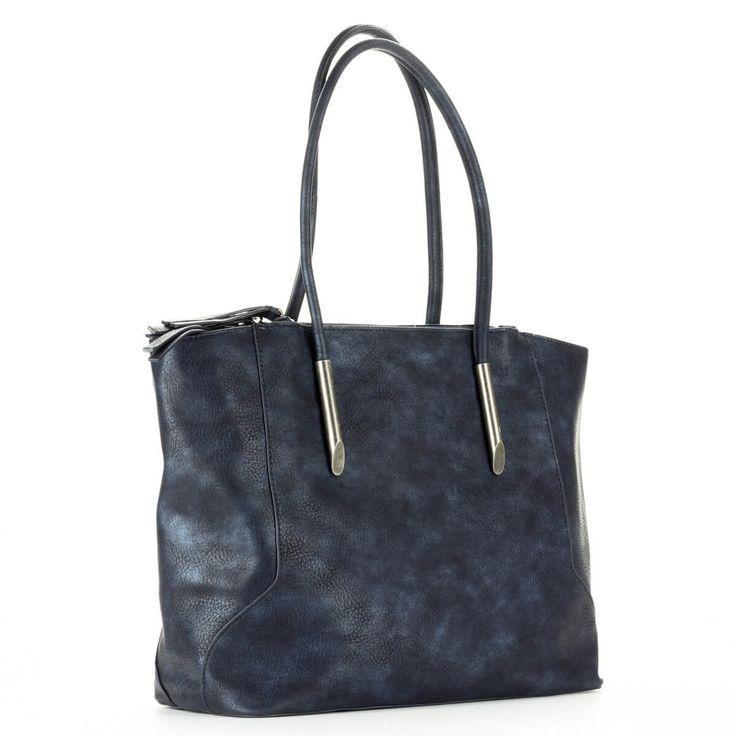 Diana & Co nagy méretű kék női táska egybefüggő nagy belső térrel. Három külön részre osztott, mindhárom cipzárral zárható. Kézben és vállon is hordható.  #bags #fashionbags