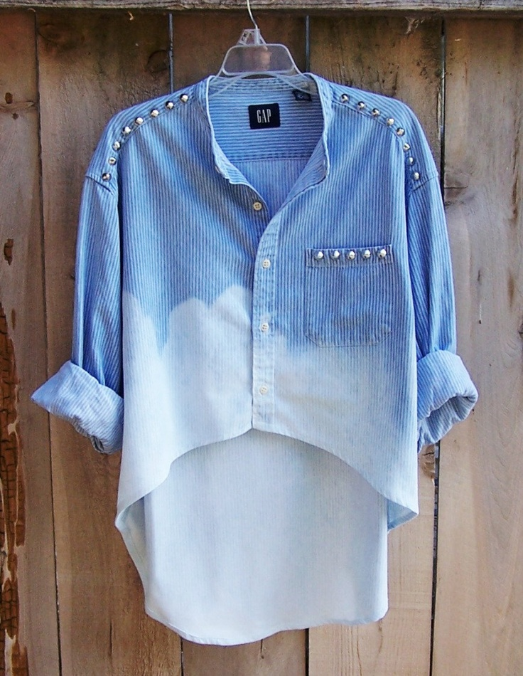 Studded Denim Shirt Contrast Camo Pocket High Low Hem Long