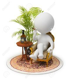 3d man smoking on wicker chair with fern