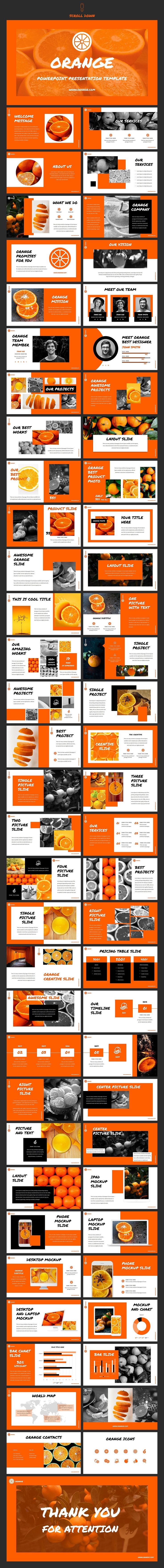 Orange - Powerpoint Template by Helga_Design on @creativemarket