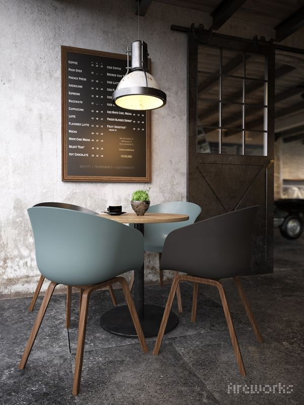 industrial style design - concrete flooring, metal lamp shades, stripped back walls etc