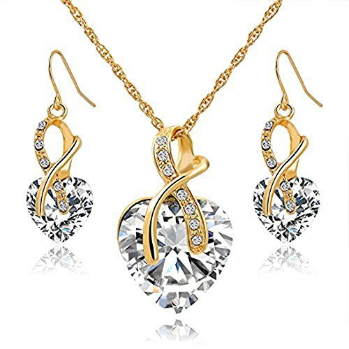 cool Gift! Gold Plated Jewelry Sets For Women Crystal Heart Necklace Earrings Jewellery Set Bridal Wedding Accessories (White)