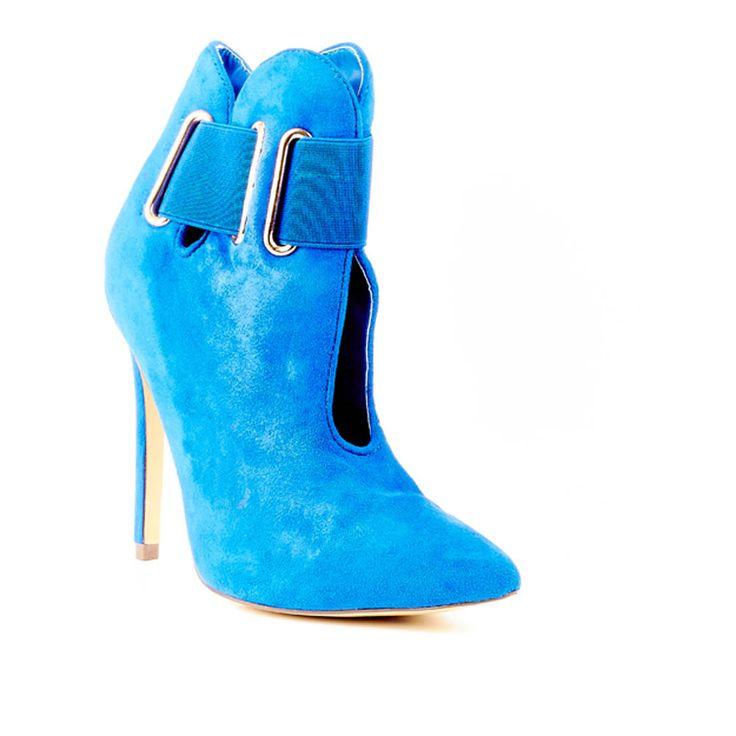 Cobalt Blue Suede High Heeled Ankle Boot by Miss Black Footwear.