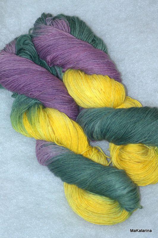Hand dyed yarn handpainted yarn hand dyed sock by MaKatarinaCorner