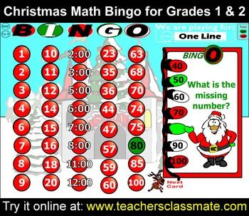 Christmas Math Bingo With Online Bingo Caller for Grades 1 and 2: Christmas Math Bingo is designed for students in 1st and 2nd grades. Play this with your class using either an interactive whiteboard or a data projector. Use the online bingo caller to draw random question cards and to display called answers while everyone else plays along with their own printed bingo cards.
