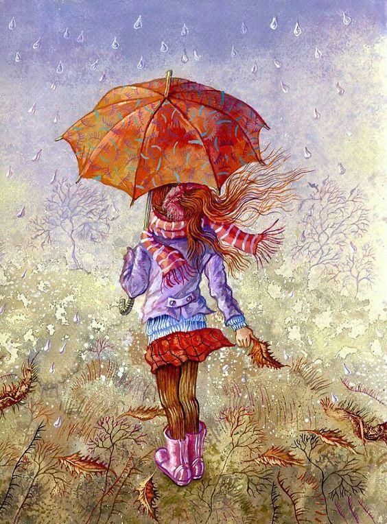 Рисунок девочка под дождем с зонтиком, джентльмен открытки годовщиной