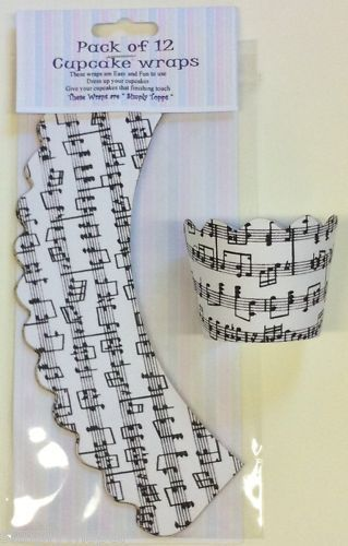 12 Music Notes  CUPCAKE WRAPS wrappers musical  - what about these??