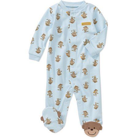 Child of Mine Carters Newborn Boys' Monkey Sleep n Play Jumpsuit, Blue