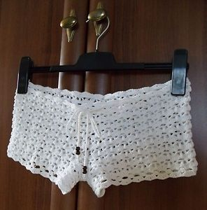 Details about Women Sexy Crochet Floral Lace Up Shorts Elastic High Waist Beach Swim Hot Pants
