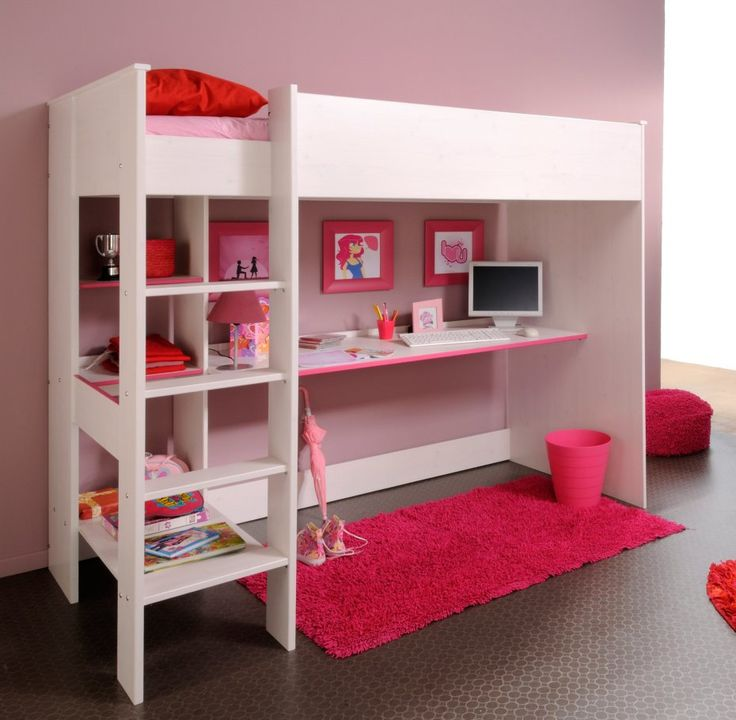 Wrought Iron Beds And White Solid Wood Loft Built In Rectangle Floating Study Table Combination With Rectangular Red Fur Rug And Red Plastick Waste Basket Also White Beds, Wonderful Loft Bed With Desk And Vanity To Make Over Your Kids Bedroom Interior Design: Bedroom, Furniture, Interior Ideas