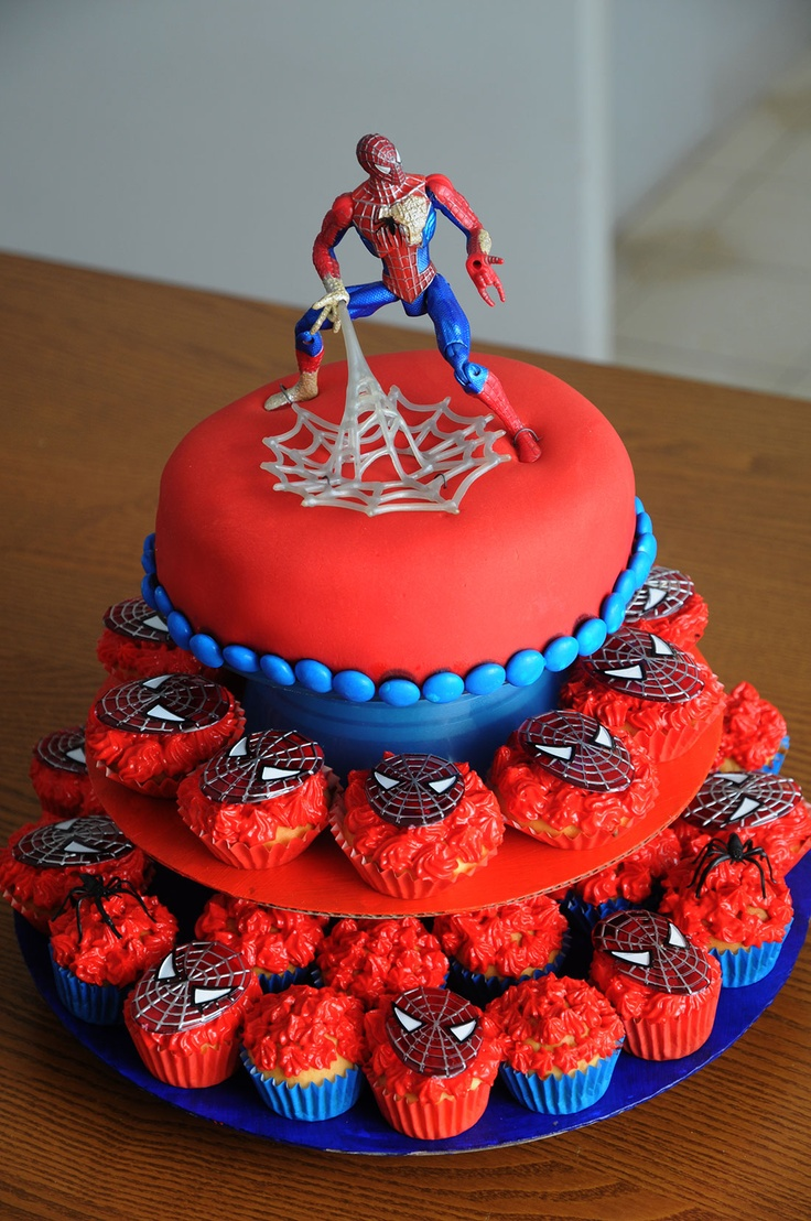 Spiderman Cake Cupcakes Fondant Pinterest Spiderman