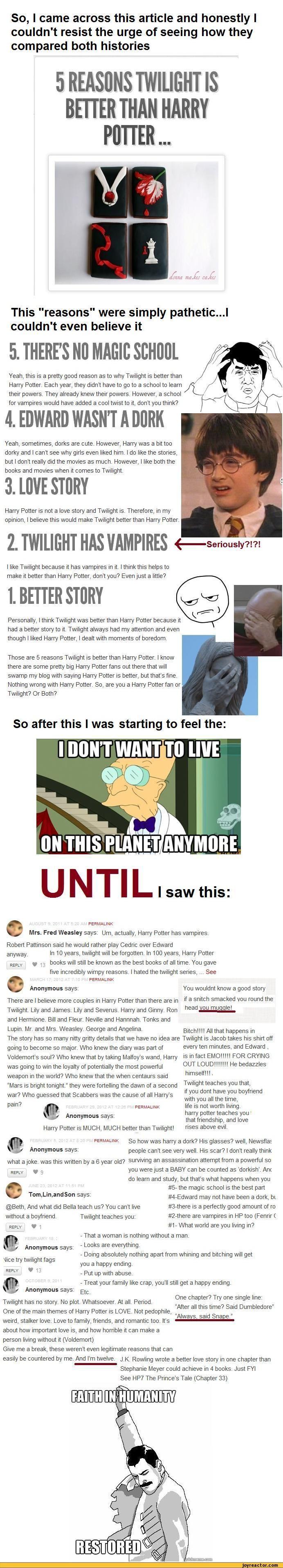 Harry Potter is better than twilight yeah I like it and all but I'm a potterhead u muggles