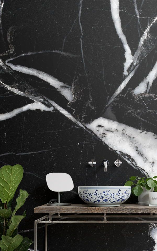 6 Dark Wallpapers To Create A Statement Bathroom Murals Wallpaper Mural Wallpaper Marble Effect Wallpaper Dark Wallpaper