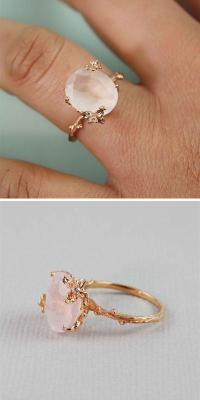 Rose Gold Oval Rose Quartz Ring @theoriginalak  hint hint cough cough :D