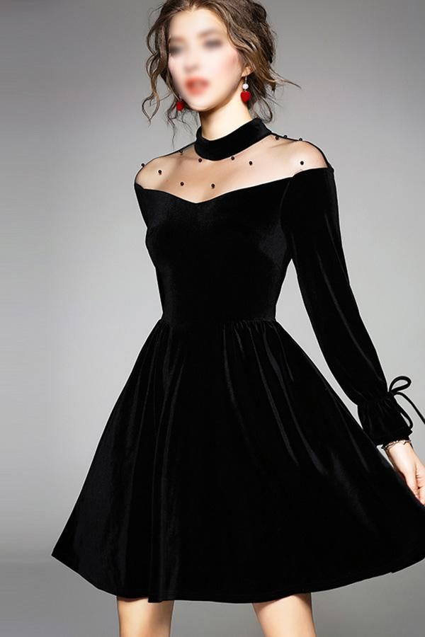 Charming Black Round Neck Long Sleeves A Line Homecoming Dress M553