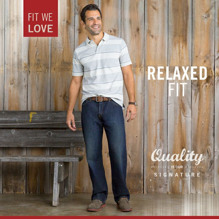 Signature by Levi Strauss & Co.™ Relaxed Fit is roomy through the seat and thigh and has a straight leg opening.