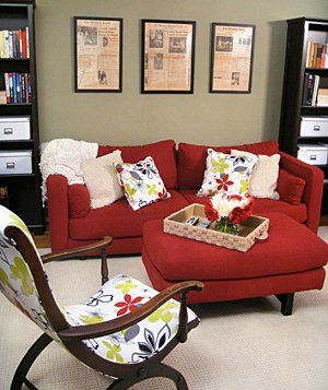 Love the patterned chair and pillows against the red.