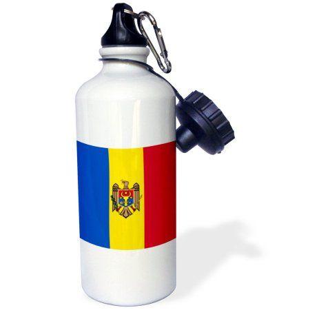 3dRose Flag of Moldova - Moldovan blue yellow red stripes - Moldavian eagle coat of arms Aurochs shield, Sports Water Bottle, 21oz