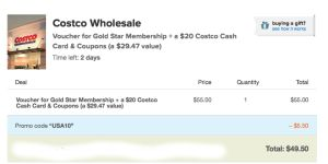 Basically FREE COSTCO membership.  Warehouse club like BJs or Sams Club but better! You can buy all your toilet paper and more in BULK!   Read our post on how to get it FREE.
