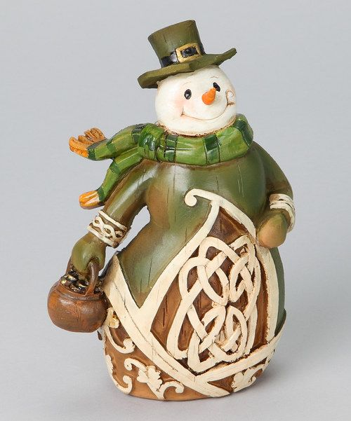 Woodcut Irish Snowman Figurine