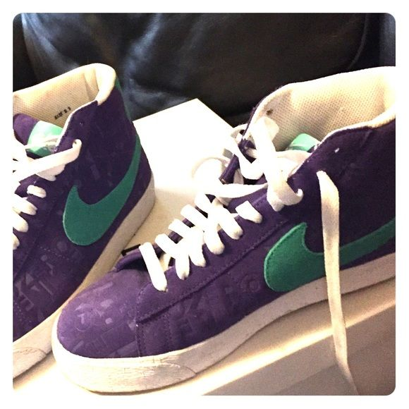 Purple and teal Nike hi tops They are hardly worn. Six point zero on shoe.. Nike Shoes