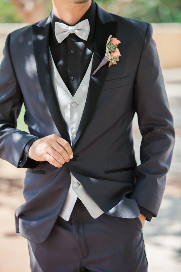Grey and black groom's tuxedo (ArtPhotoSoul Photographers)