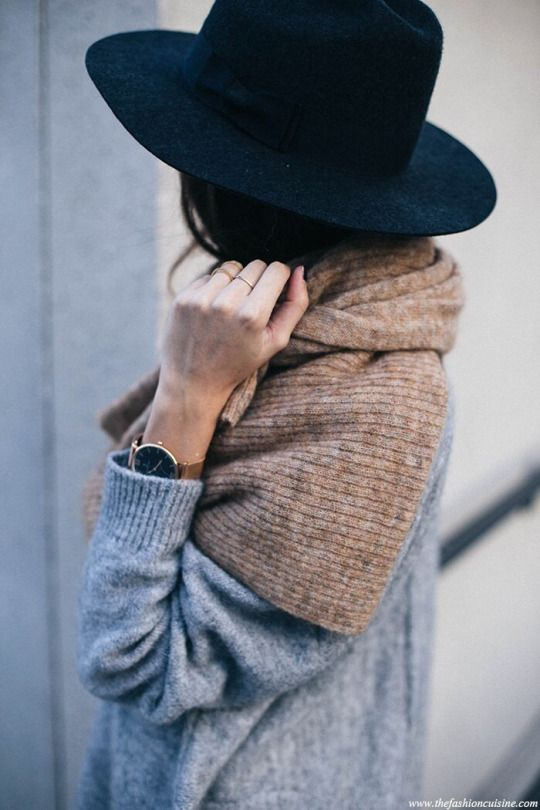 Casual Cool: The scarf, watch, and hat are great accessories that can complete an outfit