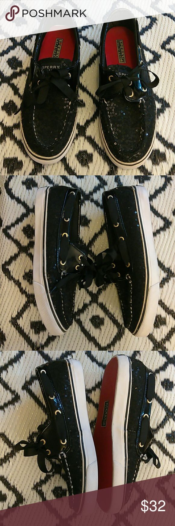 Sperry Top-Sider Shoes Sperry black sequin top siders are in excellent condition. Very little signs of wear on bottom. Clean inside and out. Sperry Top-Sider Shoes Flats & Loafers