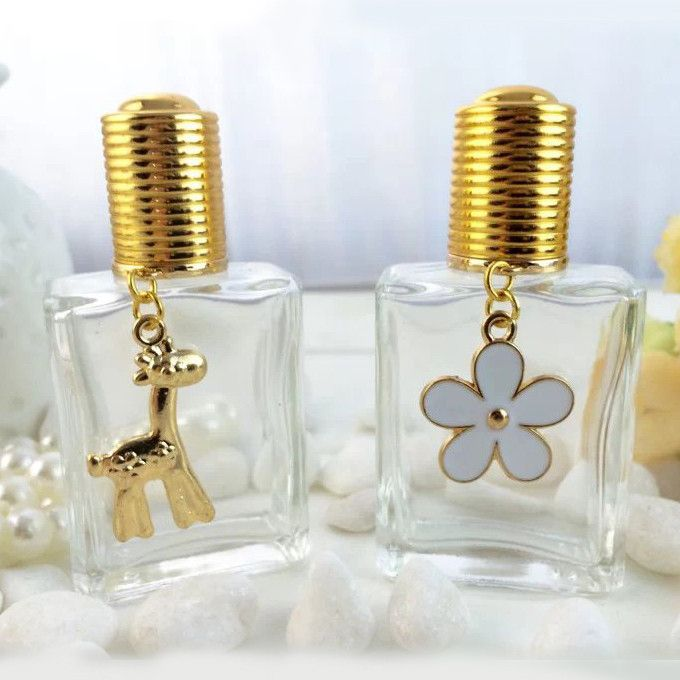 15ml Refillable Bottle Perfume Fragrance Roller Bottle Gold Cap and Pendant Women Makeup Containers Customized 10pcs/lot FZ312