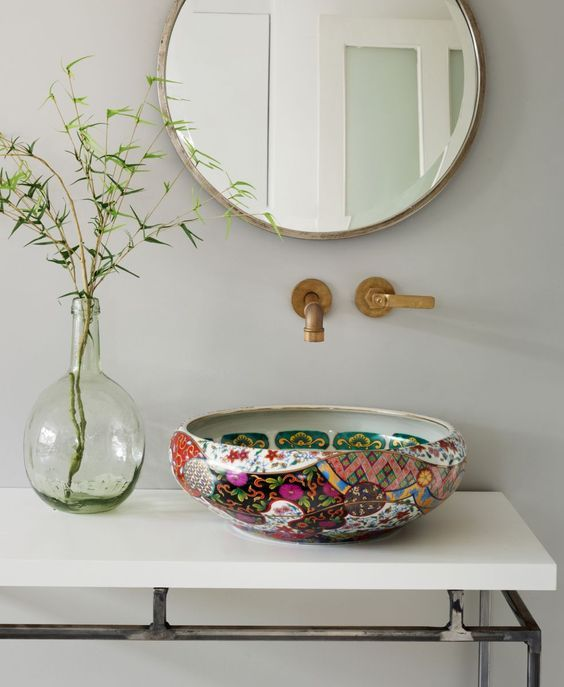 Oriental in inspiration, the richly decorated and coloured Yasmin basin from the London Basin Company is where boho chic meets contemporary bathroom style. londonbasincompany.com