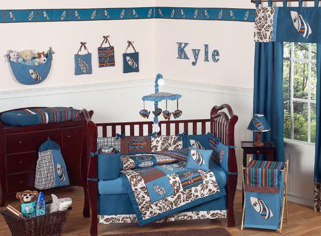 Tropical Hawaiian Blue Surf Baby Crib Bedding Set for Newborn Boy Sweet Jojo