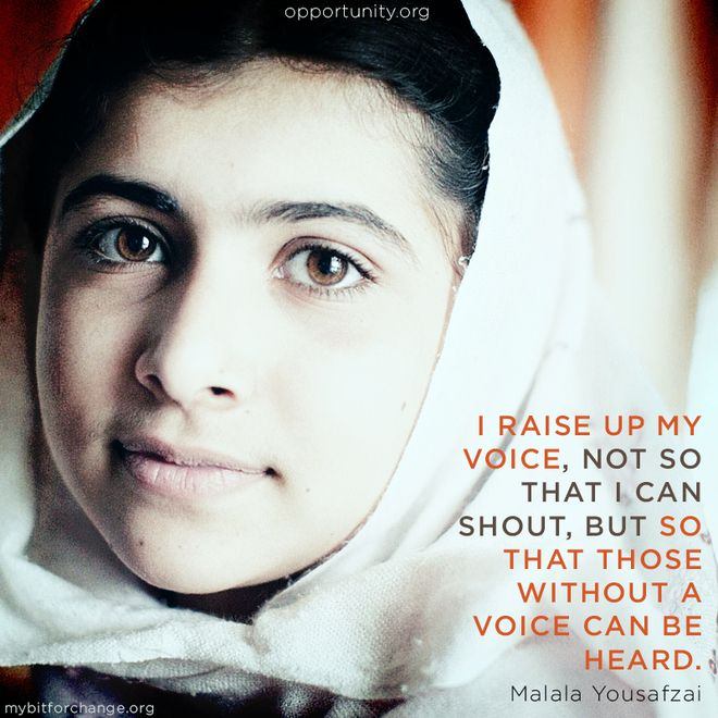Malala Yousafzai survived being shot on her way home from school by the Taliban for being an advocate of girls' education. She vows to inspire other girls and continue her own education.