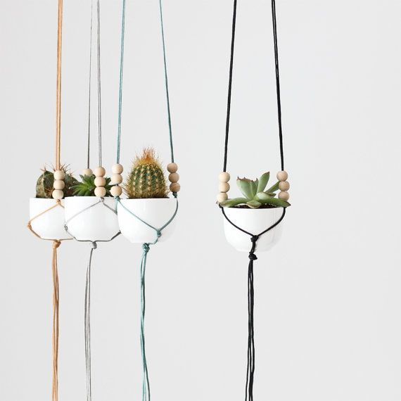 Mini Hanging Planter with Cup / Modern Macrame Planter / Plant Hanger / Minimalist Home Decor