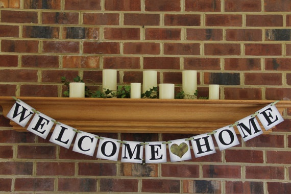 Welcome home banner party decoration military by for Military welcome home party decorations