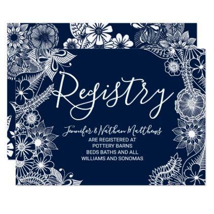 White Navy Blue Illustrative Florals Gift Registry Card – monogram gifts unique …