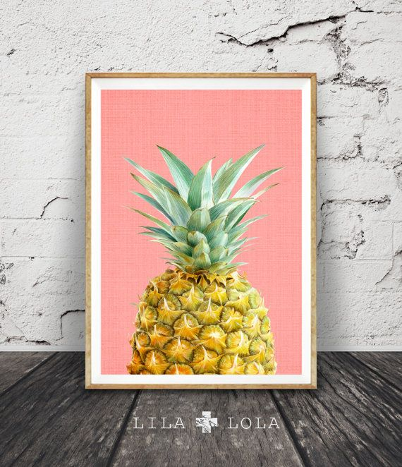 Printable Pineapple, Tropical Print, Wall Art Decor, Colourful, Kitchen Fruit, Digital Download, Modern Minimalist, Coral Pink, Poster