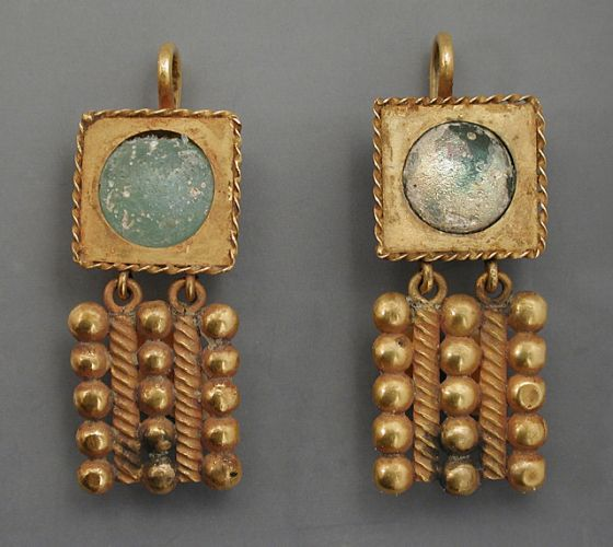 ♔ Middle East Jewellery - Earrings, Pair of Gold Earrings,Eastern Mediterranean, Roman, 3rd century A.D. Jewelry and Adornments; earrings Gold Length: 2 in. (5.08 cm