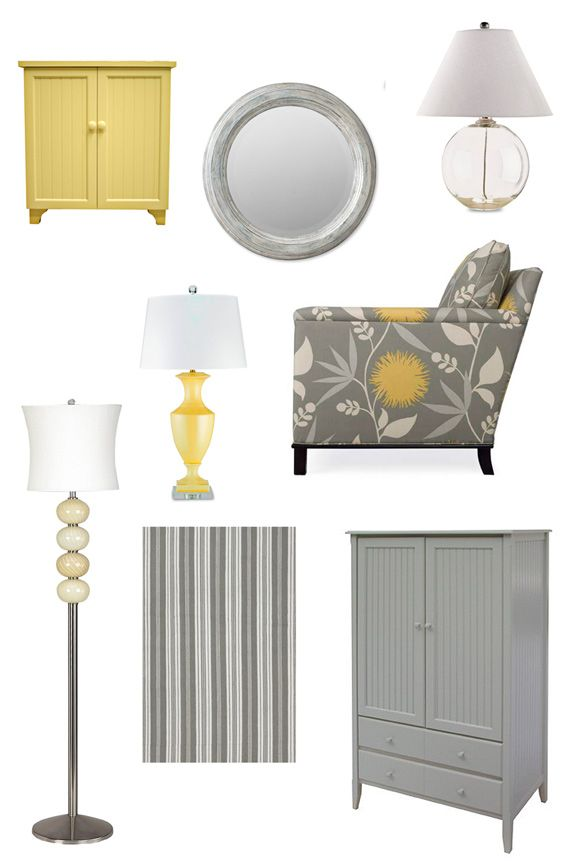 grey and yellow cottage style home decor    I'm in love with grey and yellow at the moment!