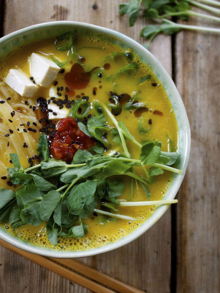 Butternut squash ramen bowl with rice noodles, tofu & fresh pea shoots