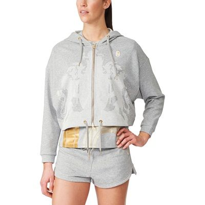Team GB Stella McCartney Gold Cropped Hoodie With Crest To Front - Womens - Medium Grey Heather