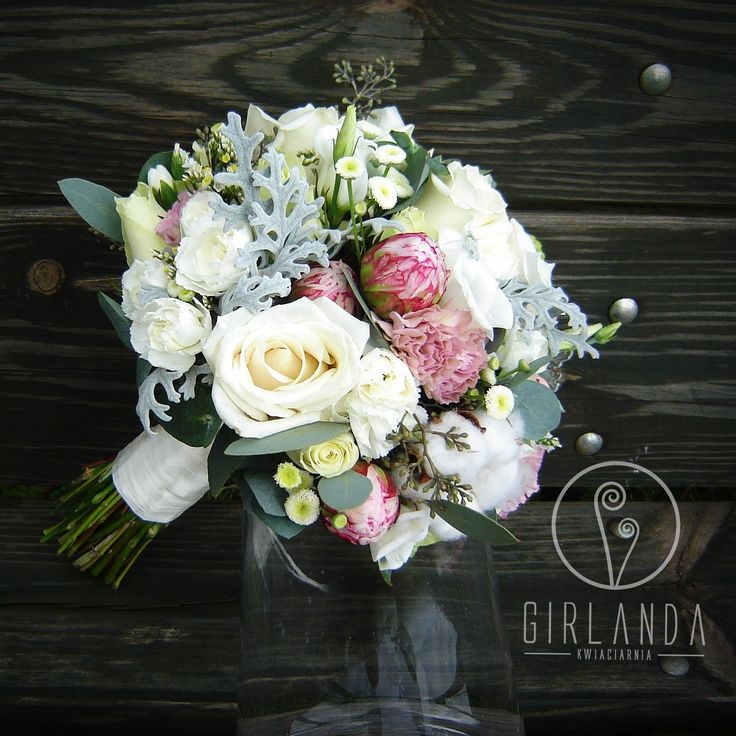Wedding bouquet with Peonies, Cotton, Dianthus, Roses and Eucalyptus. The bridal bouquet is in white, pink, creamy and grey colors. By Kwiaciarnia Girlanda Białystok.