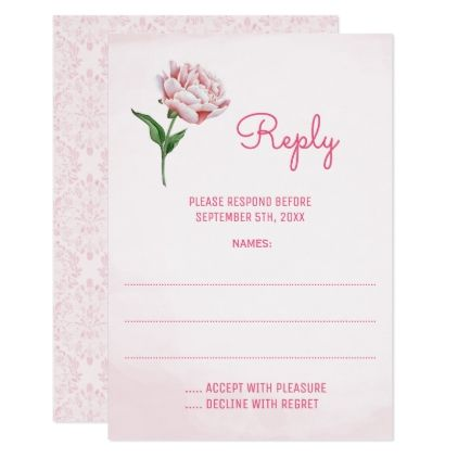 Pink Peony Flower Wedding Reply Cards - wedding invitations diy cyo special idea personalize card