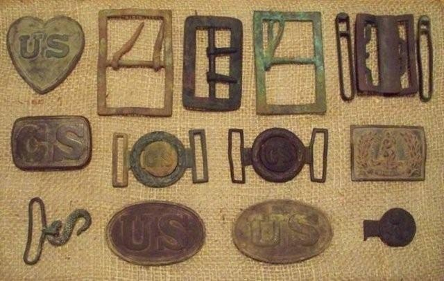 dug civil war relics including a us belt plate a cast cs